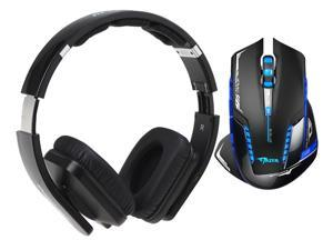 E-Blue Mazer II AVAGO chip 2500 DPI Blue LED 2.4GHz Wireless Optical Pro Gaming Mouse+Bluedio USB Connector/ Bluetooth 4.0 Circumaural Wireless Folding Gaming Headset
