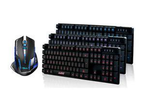 3 Color LED Backlight Backlit USB Multimedia Illuminated Gaming Keyboard Mechanical Feeling Keyboard + 2500 DPI Blue LED 2.4GHz Wireless Optical Pro Gaming Mouse