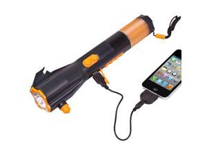 9 in 1 LED Hand-Crank Powered Dynamo LED Flashlight W/ Radio and Phone Charger