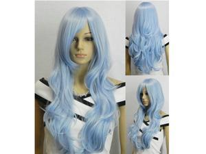 33 inch Heat Resistant Curly Wavy Long Cosplay Full Wigs Light blue