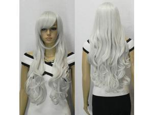 33 inch Heat Resistant Curly Wavy Long Cosplay Full Wigs Silver white