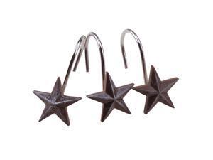 12pcs Decorative Star Rolling Shower Curtain Hooks