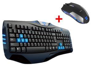 E-3lue E-Blue USB Wired Ergonomic Professional Gaming Keyboard w/ 2.4GHz Blue LED 6 Button Optical USB Wireless Gaming Mouse Mice for Desktop PC, Computer, Laptop, Notebook