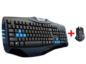 AGPtek LED Illuminated Ergonomic USB Wired Blue Backlit Gaming Keyboard with 2500DPI Blue LED Optical USB Wired Gaming Mouse for Desktop PC, Computer, Laptop, Notebook