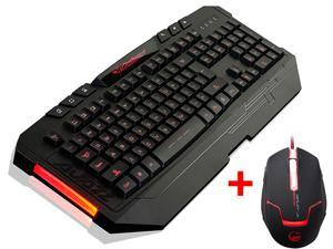 LED Illuminated Backlight Switchable USB Wired Gaming Keyboard w/ USB Adjustable 4000DPI 4-Color LED 3 Professional Gaming Optical Mouse Mice for Desktop PC, Computer, Laptop, Notebook