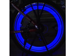 New Blue Color 6pcs Flexible Waterproof Silicone Bike Light Bicycle Cycling Spoke Wire Tire Tyre Silicone LED Wheel