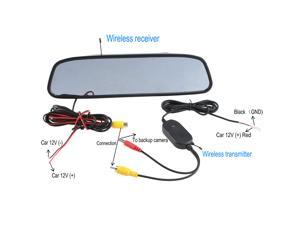 "4.3"" Color TFT LCD Car Wireless Rear View Mirror Monitor for Screen Reverse Camera DVD with Wireless Transmitter"