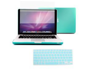 "3in1 Rubberized Hard Case Turquoise Laptop Shell +Keyboard Skin + Screen Protector For Apple Macbook Pro 15"" 15.4"" A1286 (NO Retina)"