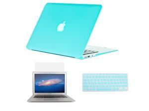 "Wholesale3in1 Rubberized Hard Case Champagne Turquoise Laptop Shell +Keyboard Skin + Screen Protector for Apple Macbook Air 11"" 11.6"" A1370 / A1465"