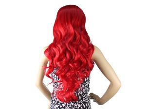 "32"" Long Heat Resistant Big Spiral Curl Red Cosplay Wig 80cm"