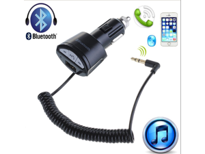 AGPtek Car Bluetooth A2DP 3.5mm Stereo Audio Receiver Adapter Hands free USB Charger for iPhone5 5S iPhone6 Samsung Galaxy S5 S4 S3