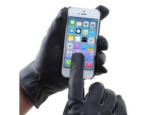 DIY Telefingers Gloves Touch Screen Washable Leather PU Gloves for Cold Weather Mechanics Work_Black