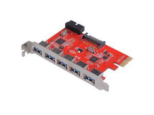 USB 3.0 PCI-e Express Card with 5 USB 3.0 Ports and SATA 15Pin Power Connector for Desktops PCI Express Expansion Card Adapter