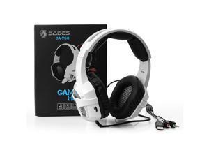 SADES SA-738 Stereo Gaming Headsets - USB 3.5mm LED with Mic for PC/MAC - Blue LED Light - with Sades Retail Gift Box