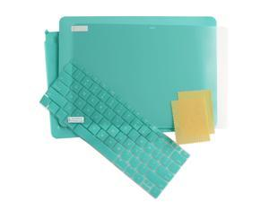 "3in1 Rubberized Hard Case Laptop Shell +Keyboard Skin + Screen Protector for Apple the New Macbook 12"" [2015 Release] Retina Display Turquoise"
