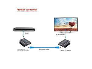 196ft 60m LKV372A HDMI Network Extender Over Single Cable with IR Cat5e/6 Ethernet Cable