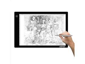 AGPtek LED Artcraft Tracing Light Pad A4 Light Box Ultra-thin USB Power Cable Dimmable Brightness for Stenciling, 2D Animation, Calligraphy, Embossing, Scrapbooking, Tattoo Transferring, Sketchin