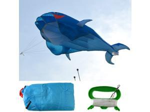3D Kite Huge Frameless Soft Cloth Parafoil Giant Dolphin 30m String Kite_Blue