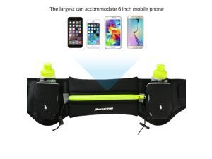 Hydration Running Belt with 2 BPA Free Water Bottles – 6.5'' Pouch Fits All Smart phones– Bounce- Free & Lightweight Runners Waist Pack