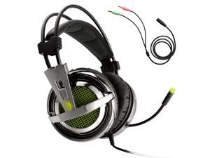 SADES SA-928 Stereo Lightweight Gaming Headsets 3.5mm with Mic for PC/MAC - With Headset Splitter Adapter