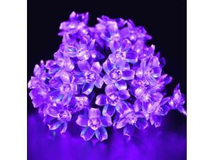 21 Ft 50 LED Solar Powered BlossomString Lights Waterproof Decorative Gardens, Lawn, Patio, Christmas Trees, Weddings, Parties, Indoor and Outdoor Use (Purple)