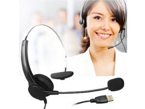 AGPtek Handsfree Call Center Noise Cancelling Corded with USB Plug Headset Headphone with Mic Mircrophone for Phone Desk Telephonefor Phone Telephone Counseling Services Insurance Hospital