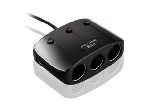 AGPTEK® In-car 3 Sockets Cigarette Lighter DC 12V/24V Car Charger Splitter Multiplier + Dual USB Ports for all IPhone or Android Smartphones & Tablets.