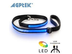 AGPtek USB Rechargeable LED Dog Safe Bright Nylon Leash Blue