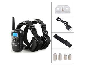 AGPtek New Rechargeable Waterproof LCD 100LV Level Shock Vibra Remote 2 Dog Training Collar