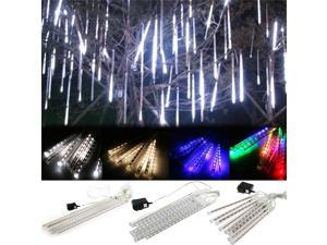 11.6 Inch 30cm 144 LED Meteor Shower Rain Lights Waterproof 8 Tubes Strings for Xmas Christmas Tree Decorations Cool White/As Shown