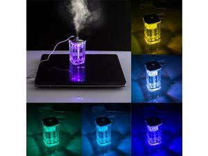 AGPtek USB Mini Air Humidifier Aromatherapy Aroma Diffuser Purifier with Changing Color LED Crystal Glass for Ultrasonic Room, Bedrooms, Home and Office with Two Cotton Swab