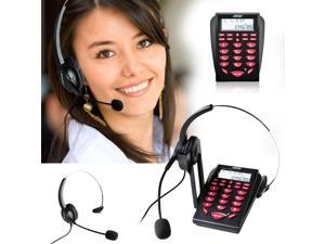 AGPtek Hands-free Call Center Noise Cancellation Corded Monaural Headset Telephone with Backlight Tone Dial Key Pad & REDIAL + Desk Phone Headphones PC Recording Function ,for Telephone Counseling Ser