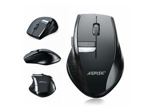 Wireless Mouse, AGPtek® 2.4Ghz Wireless Mobile Optical Mouse With Six Function Key, 3 DPI Levels, USB Wireless Receiver , 18-month Warranty– Black
