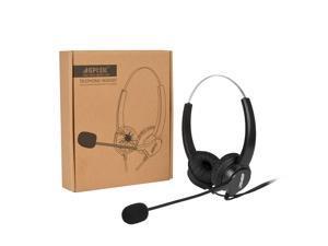 Agptek 2.5mm Headset for Desk Phones, 6FT Hands-Free Noise Cancelling binaural Headset Headphones with Mic, Microphone, Comfort Fit Headband for Panasonic Desk Phones, Most Cordless Phones