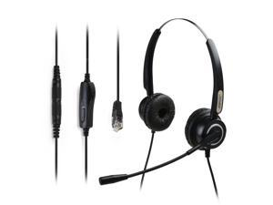 AGPtek Hands-free 4-Pin RJ9 Binaural Telephone Headset for Call Center, Best Sound Quality with Noise Canceling Mic + 3.5MM QD + Volume Mute, Universal, Black
