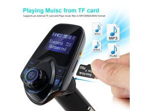 AGPtEK Wireless In-Car Bluetooth 3.0+EDR FM Transmitter Radio Adapter Car MP3 Player Handsfree Kit with 1.44 Inch Display 2.1A USB Car Charger MP3 Player Read Micro SD (TF) Card and USB Flash Drive