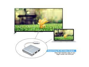 USB-C to HDMI Adapter Type-C 3in1 USB 3.1 USB-C to USB 3.0/4Kx2K HDMI/Type C Female Charger Adapter for Apple MacBook (12 inch, 2015), Google Chrome Book Pixel (2015),Dell XPS 13 (2016), Type-C Device