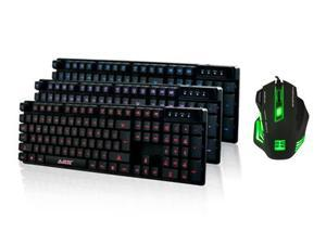AGPtek 7 Color LED Illuminated Backlit 800-2400 DPI Game Ergonomics USB Wired PC Optical Gaming Mouse+3 Color LED Backlit USB Multimedia Illuminated Gaming Keyboard Mechanical Feeling Keyboard