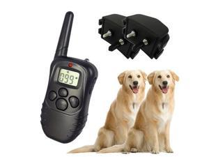 2pcs 100LV Remote Control Dog Training Shock & VIBRATE No-Bark Collar with LCD Display for 2 dogs