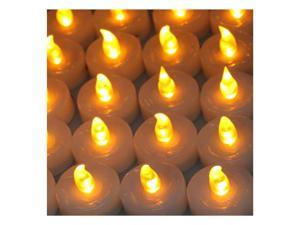 Lot 100 Battery Flameless, Smokeless Safe LED Amber Yellow Tea Light Candle for Birthday, Party, Chrismas/Xmas