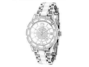 Luxurman Ladies Diamond Ceramic Watch 1.25ct White MOP Galaxy