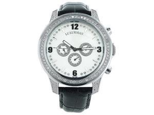 Luxurman Mens Diamond Watch 2.6ct White MOP