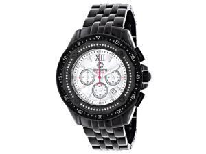 Centorum Men's Black Diamond Watch Chronograph 0.55ct