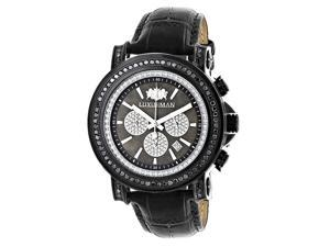 3ct Large Mens Black Diamond Watch MOP Dial w Chronograph and Leather Band Luxurman Escalade