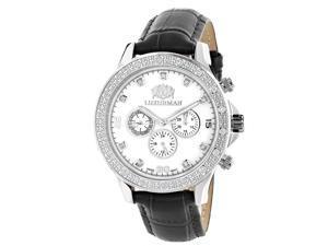 Luxurman Mens Diamond Watch 0.2ct Swiss Quartz Liberty w Leather Band and White MOP Dial