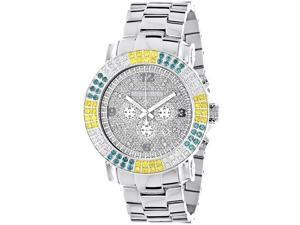 Large Mens Multicolor White Yellow Blue Diamond Watch 4.3ct Luxurman Escalade