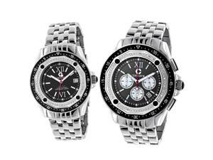 Matching His and Hers Watches: Centorum Chronograph Diamond Watch Set 1.05ct Black