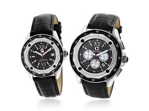 Matching His and Hers Watches: Centorum Diamond Watch Set in Black 1.05ct