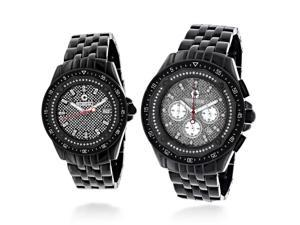 His and Hers Matching Watches: Centorum Chronograph Diamond Watch Set 1.05ct Black