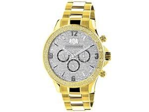 Luxurman Liberty Yellow Gold Plated Mens Diamond Watch Swiss Mvt 0.2ct